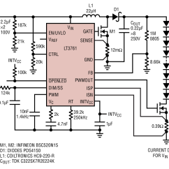 Tridonic Led Driver Dimmable Wiring Diagram Bicycle Lt3761 80w High Voltage Boost With 25 1