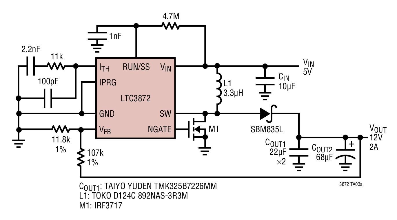 hight resolution of high efficiency 5v input 12v output boost converter