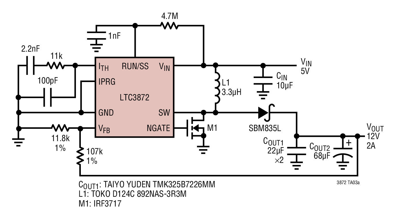 small resolution of high efficiency 5v input 12v output boost converter