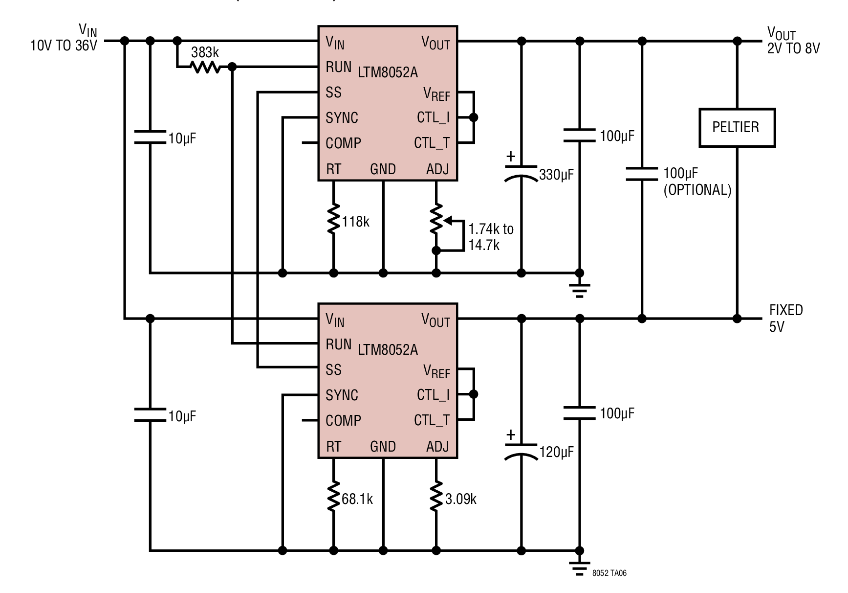Two LTM8052As Used to Regulate Positive or Negative Voltage (and Current) Across a Peltier