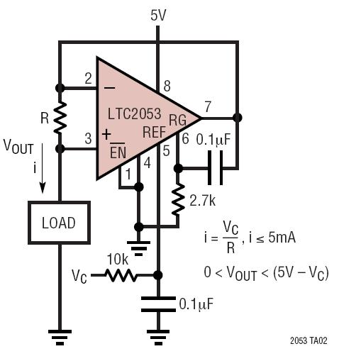 hight resolution of precision voltage controlled current source
