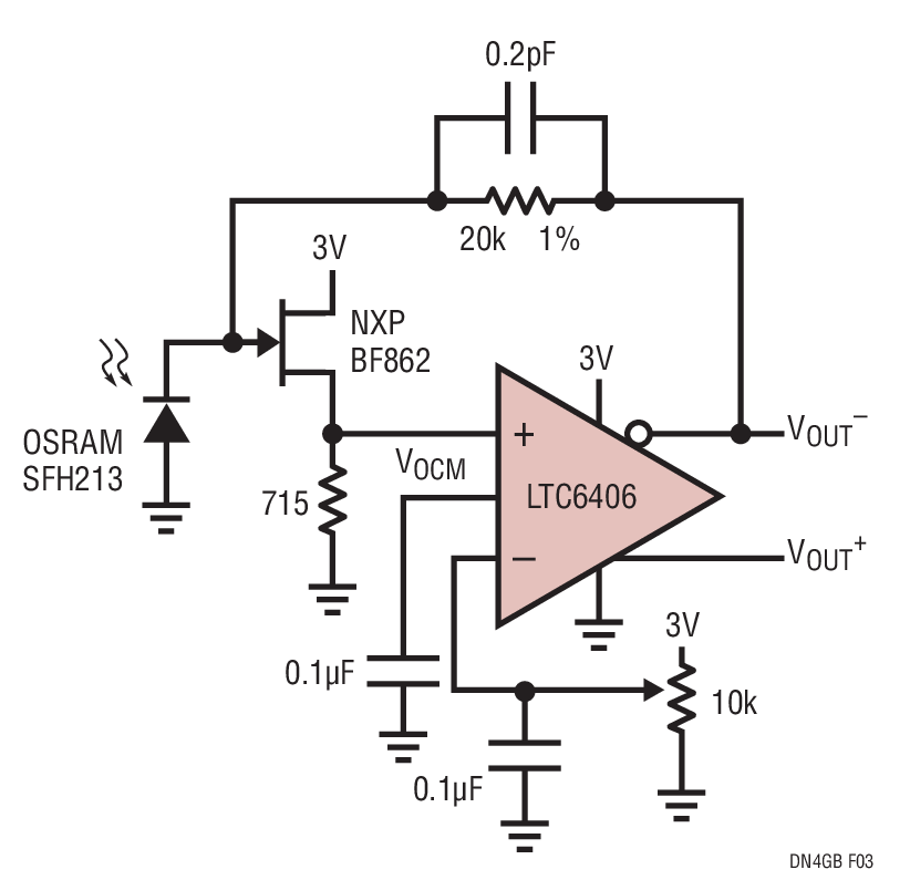20mhz transimpedance photodiode amplifier