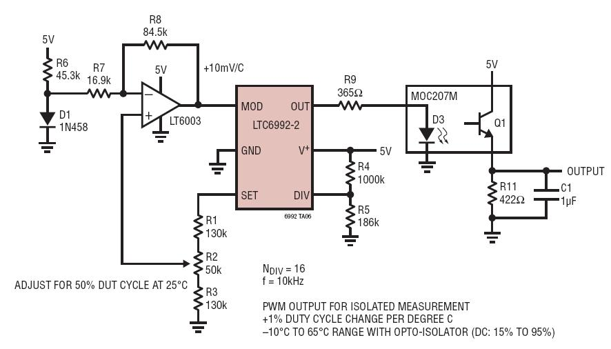 Simple Diode Temperature Sensor With Frequency Output Circuit Collection | Analog Devices
