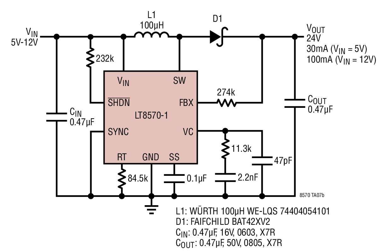 12v dc to 9v converter circuit diagram seven pin wiring lt8570 1 1mhz boost generates 24v from 5v