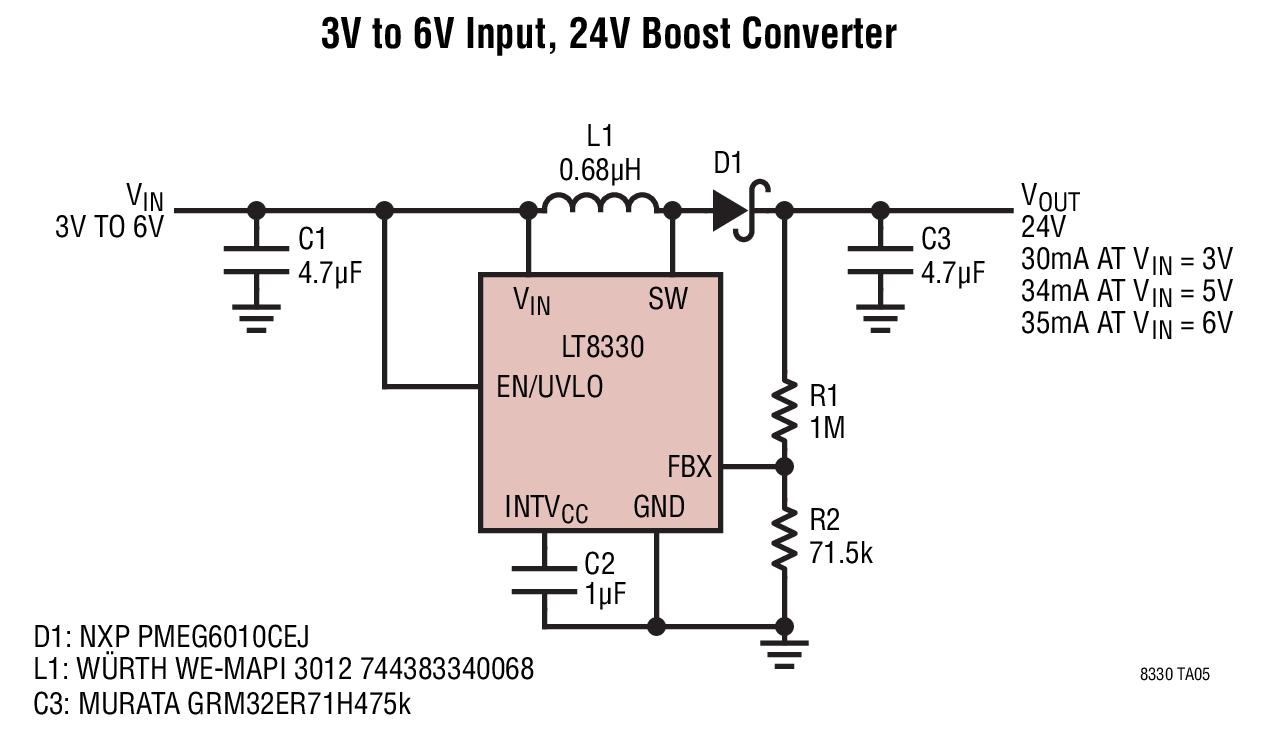 hight resolution of 3v to 6v input 24v boost converter