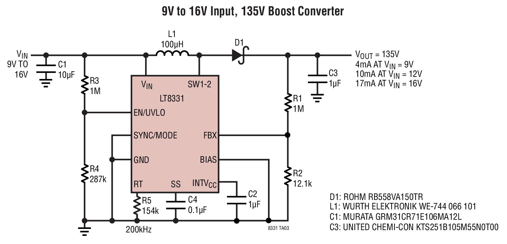 12v dc to 9v converter circuit diagram of insect beetles lt8331 16v input 135v boost