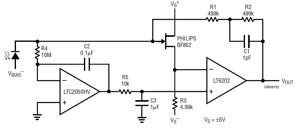 low noise low power photodiode amplifier with dc precision