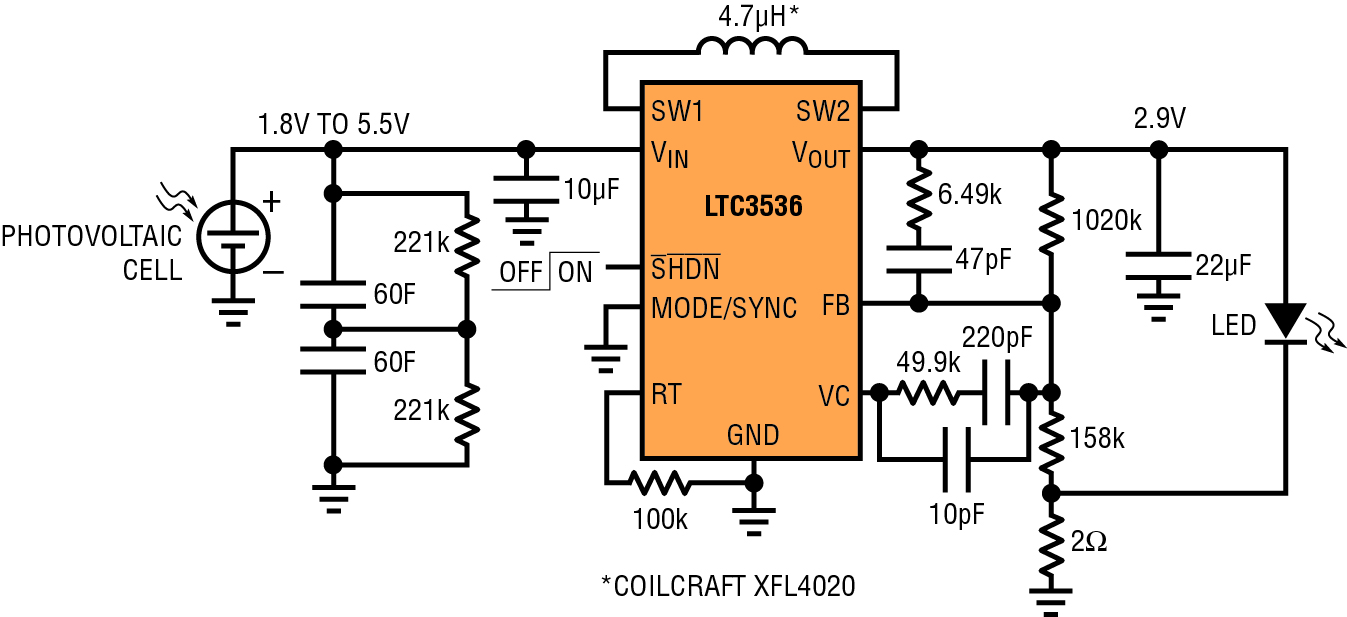 ltc3536 solar powered led driver circuit collection analog devicesthe power generated by a solar cell varies [ 1347 x 617 Pixel ]