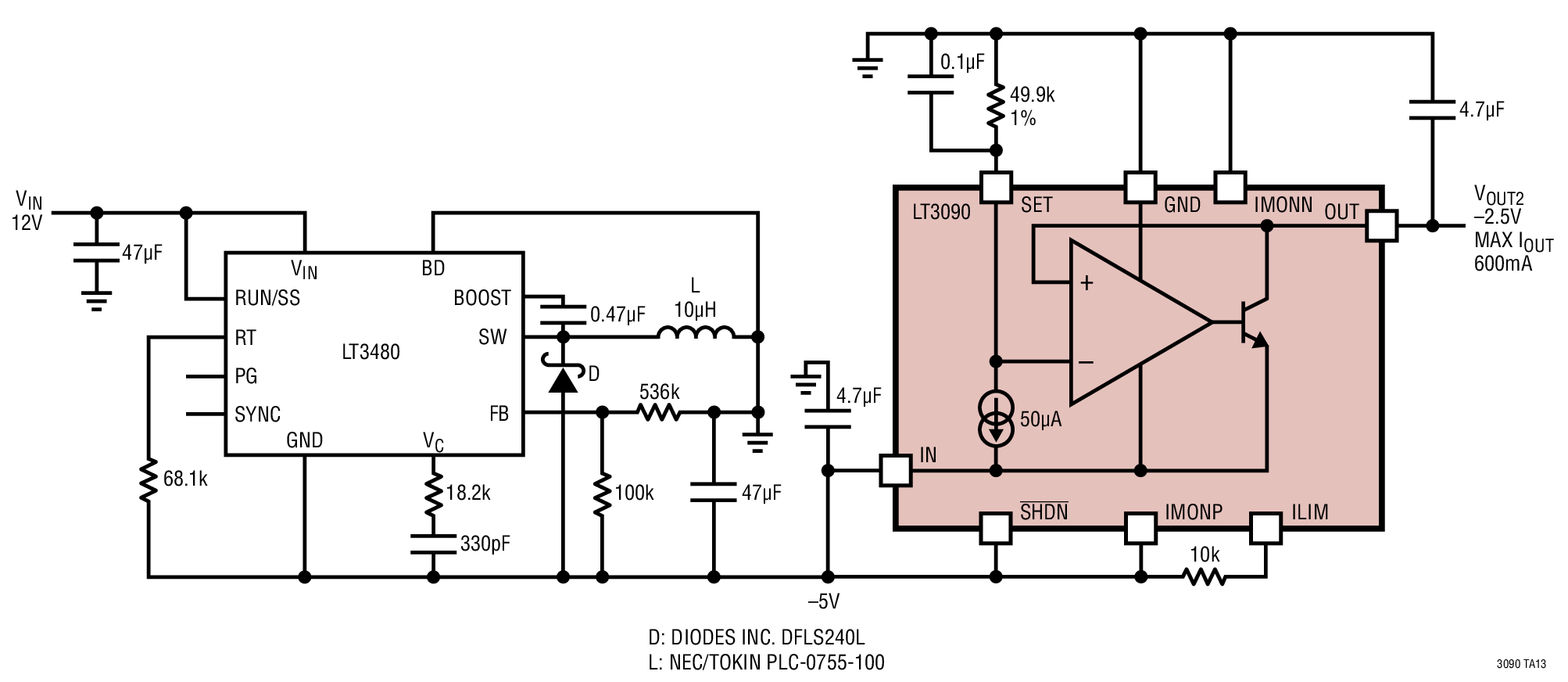 medium resolution of low noise single inductor positive to negative converter