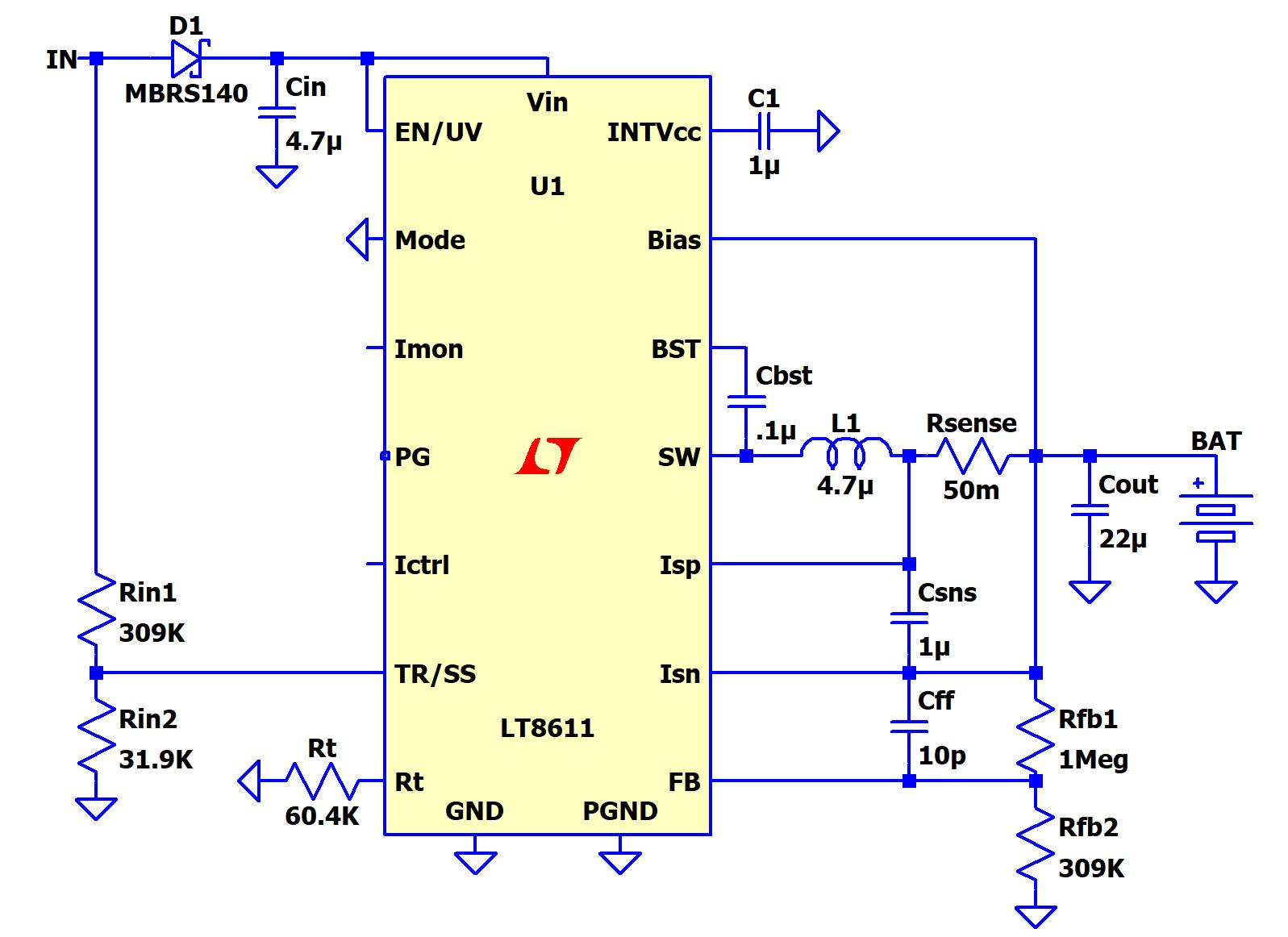 medium resolution of figure 2 lt8611 cccv battery charger with input voltage regulation