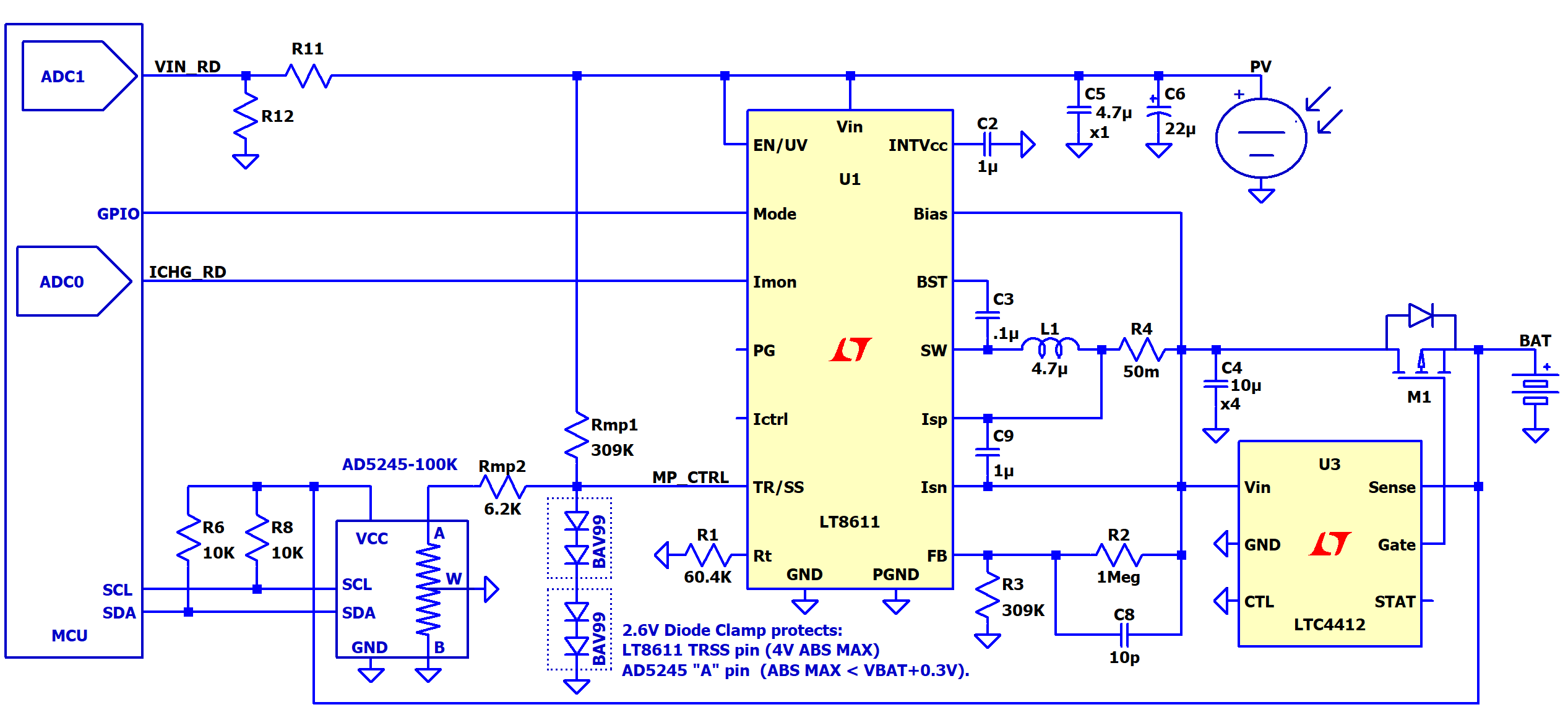 high efficiency solar mppt battery charger using lt8611 and ad5245 solar charge controller circuit diagram besides solar battery charger [ 2534 x 1177 Pixel ]