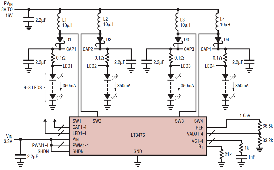 hight resolution of the lt3476 configured into a boost circuit for automotive applications