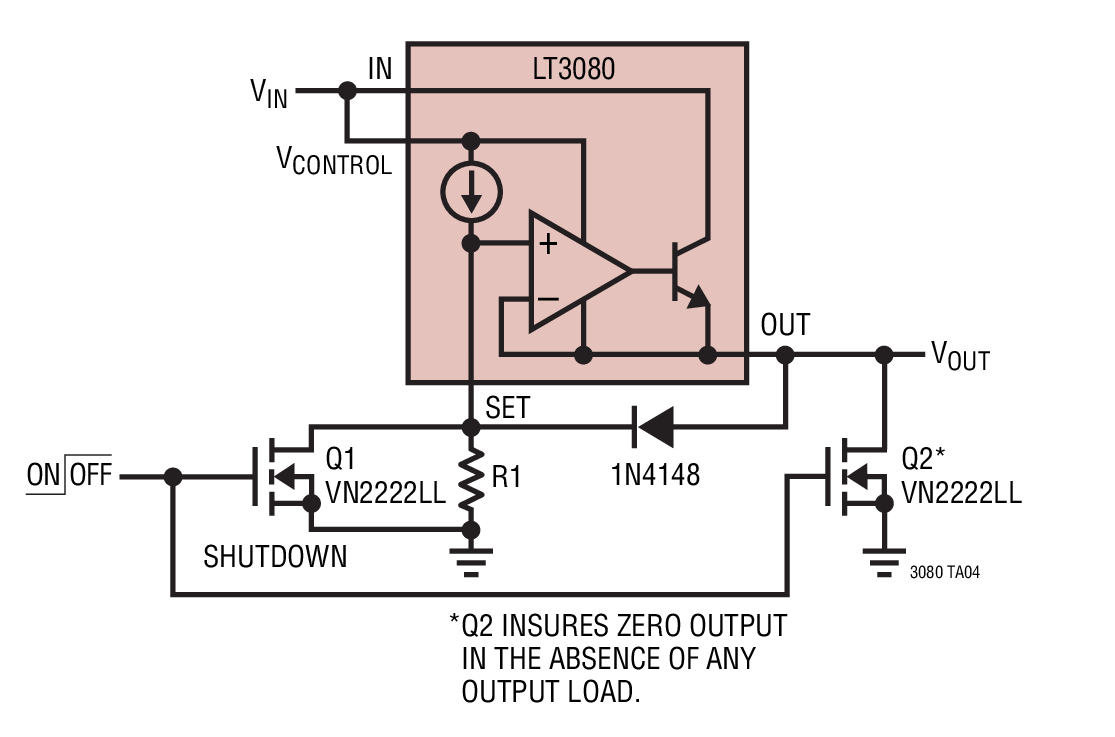 shutdown with the lt3080x current source reference linear regulators fastcharger with linearregulator current source circuit diagram [ 1115 x 737 Pixel ]