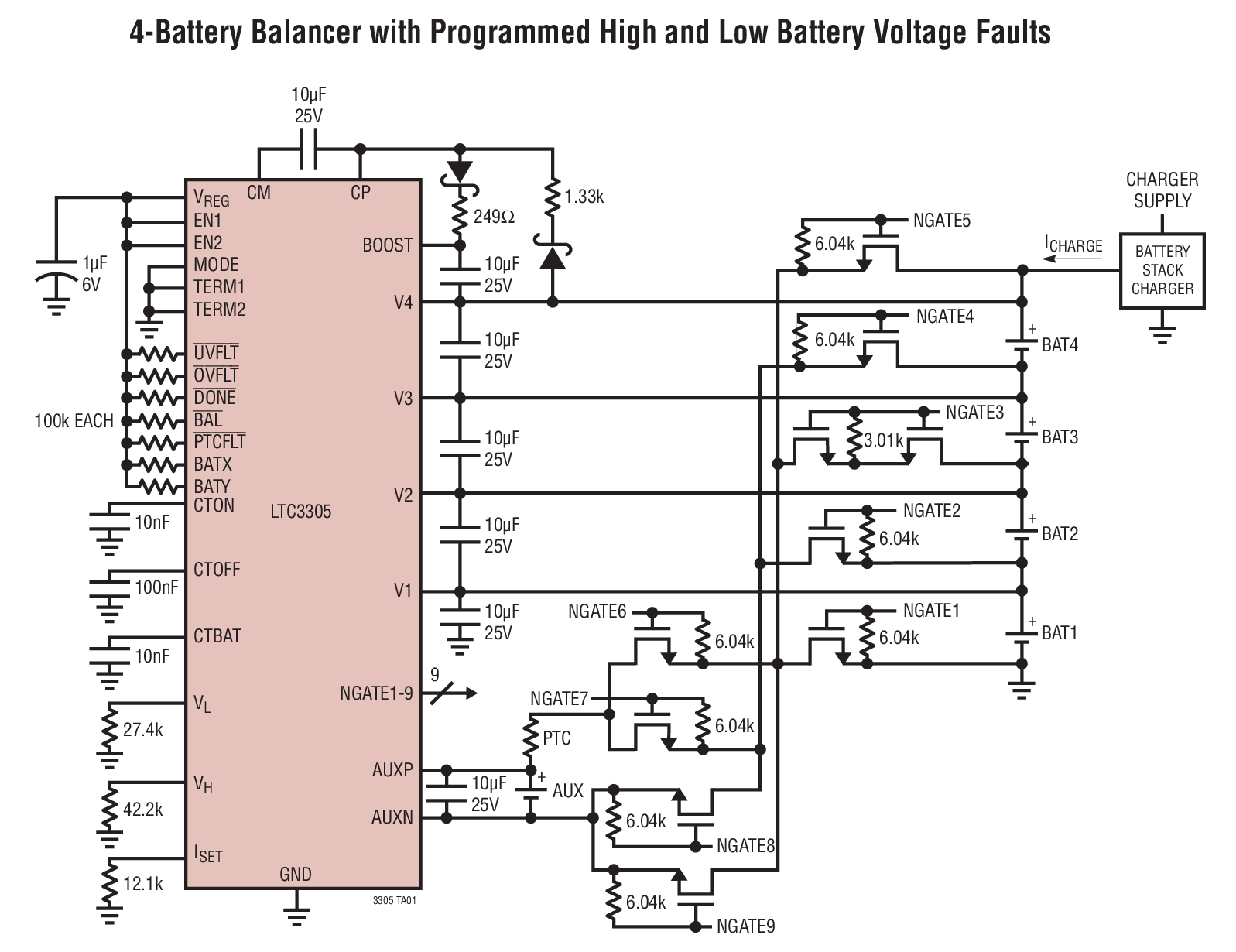 4 battery balancer with programmed high and low battery voltage faults [ 1597 x 1230 Pixel ]