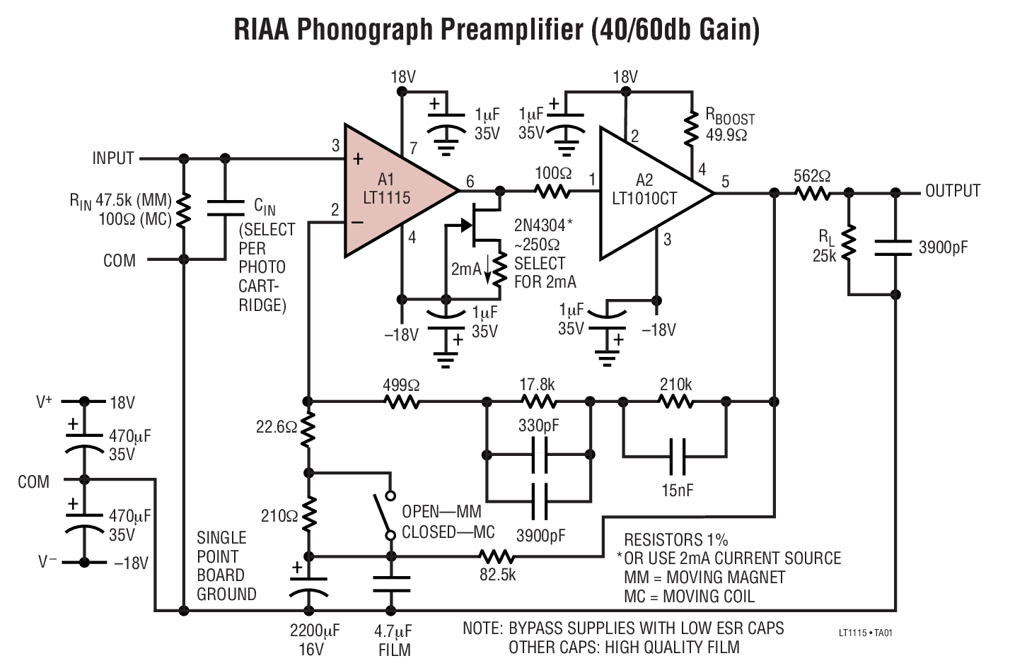 medium resolution of lt1115 datasheet and product info analog devices audio preamplifier circuit diagram with low distortion