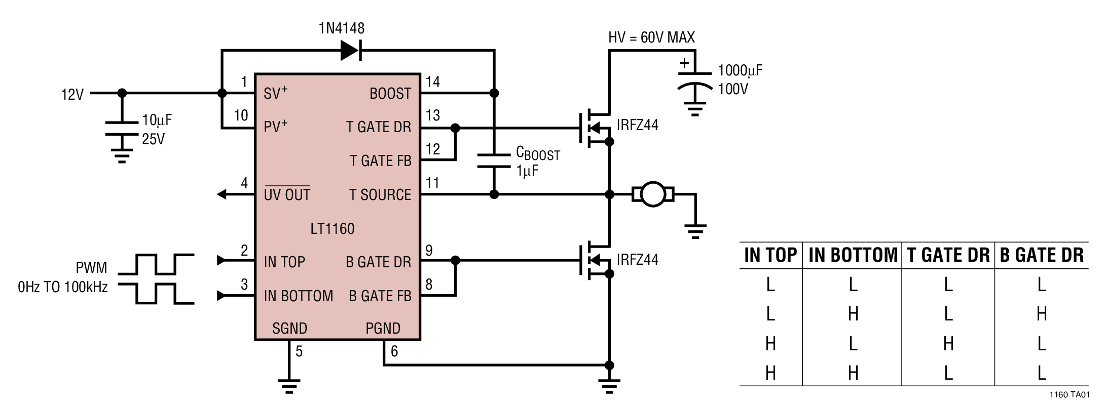 high power led driver circuit diagram trailer wiring with electric brakes lt1160 lt1162 60v max supply referenced dc motor half