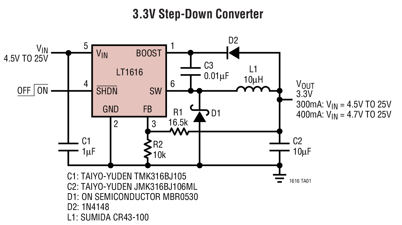 hight resolution of lt1616 3 3v step down converter circuit collection analog devices circuit diagram dc step down converter circuit converter circuit