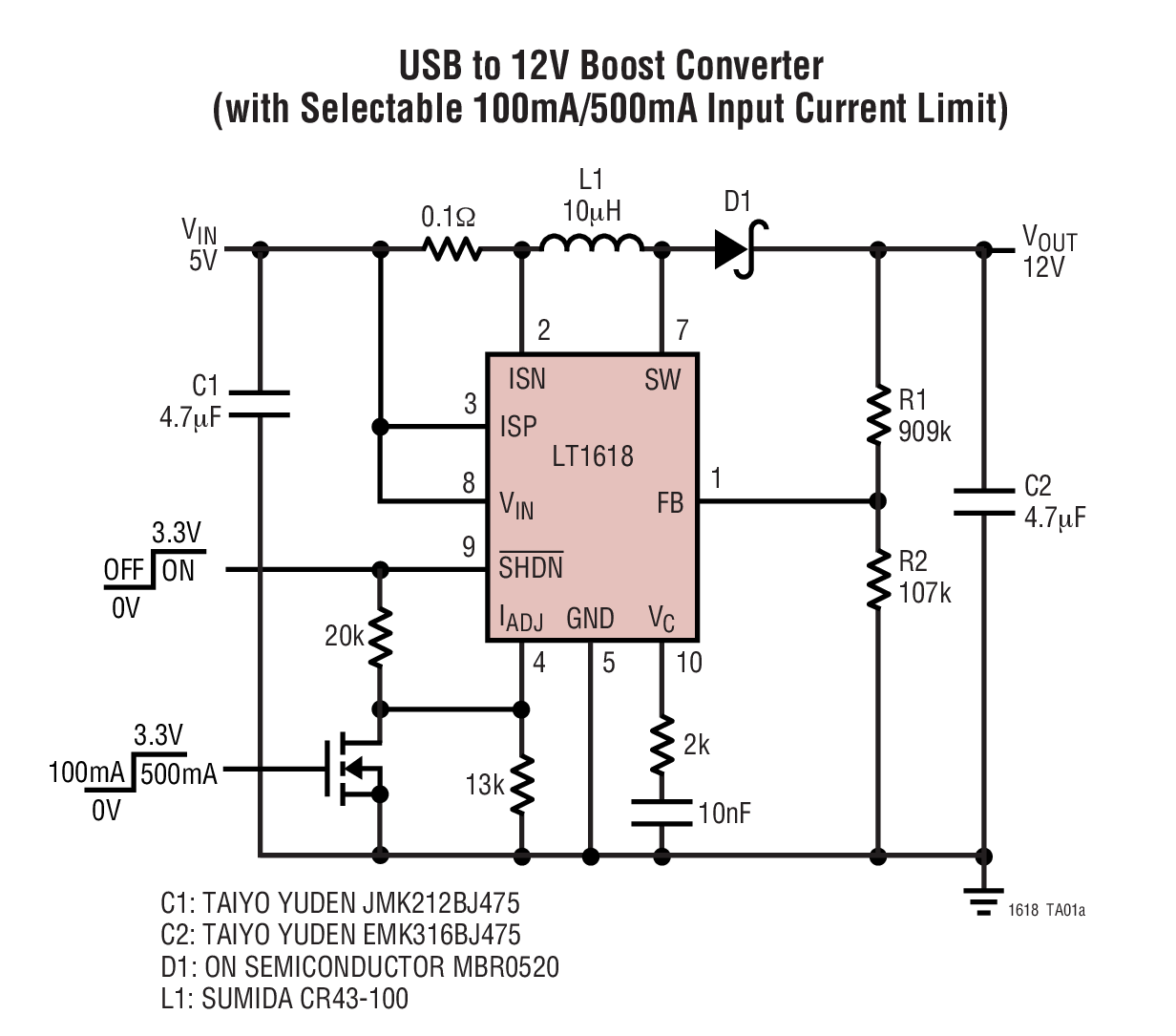 lt1618 datasheet and product info analog devices boost converter circuit on dc to step up converter circuit diagram [ 1232 x 1085 Pixel ]