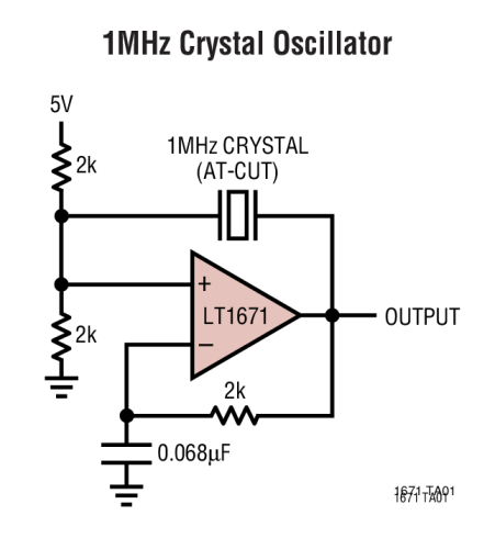 comparator based crystal oscillator