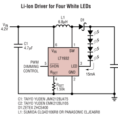 3w Led Driver Circuit Diagram System Use Case Lt1932 Li Ion For Four White Leds