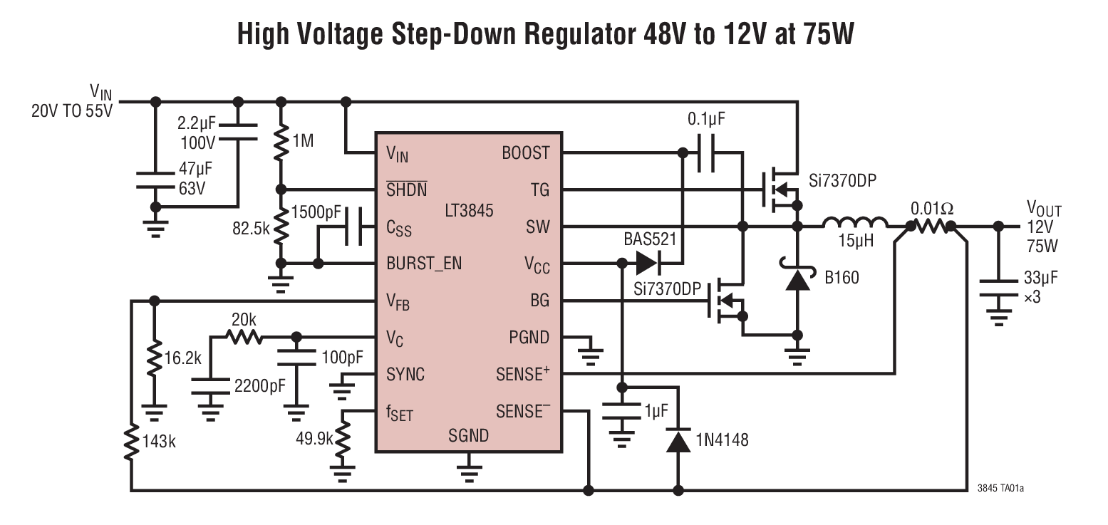 small resolution of lt3845 high voltage step down regulator 48v to 12v at 75w circuit stepdown converter controller circuit schematic
