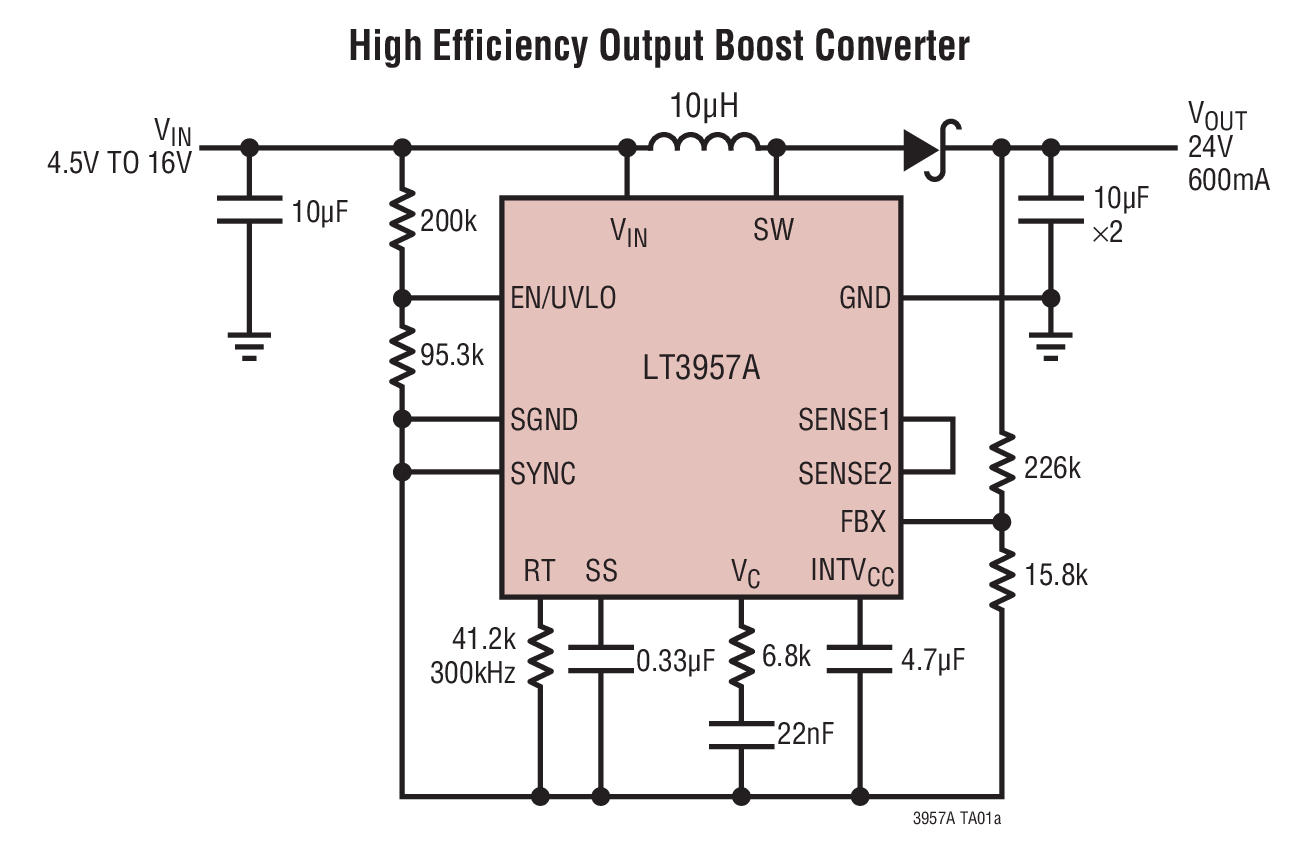 circuit diagram of buck boost converter tvs fiero f2 wiring lt3957a high efficiency output