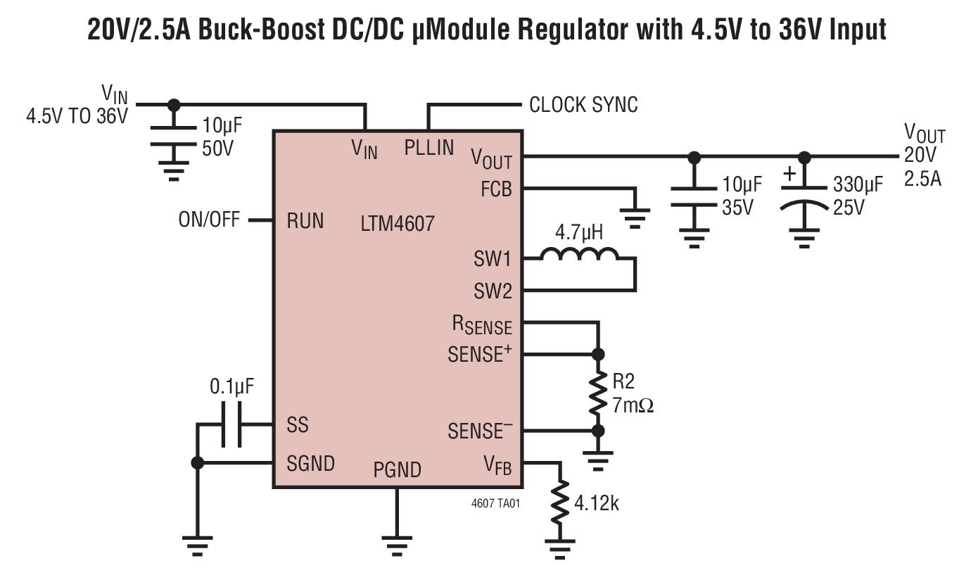 circuit diagram of buck boost converter trailer board wiring ltm4607 20v 2 5a dc μmodule regulator with 4