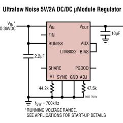 Circuit Diagram Of Buck Boost Converter One Wire Alternator Wiring Chevy Ltm8032 Ultralow Noise 5v 2a Dc μmodule Regulator