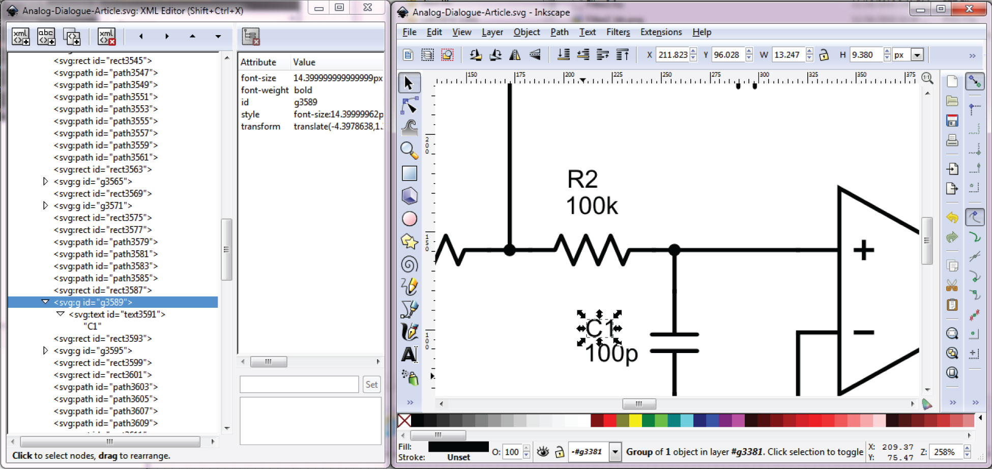 hight resolution of schematic editing in the inkscape tool