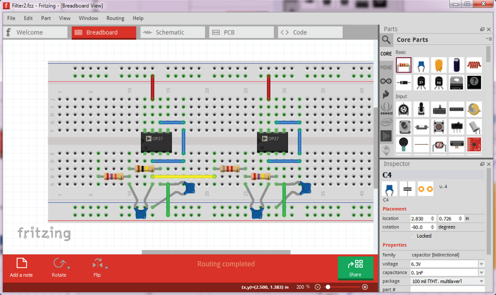 hight resolution of fritzing tool provides a breadboard view of the circuit