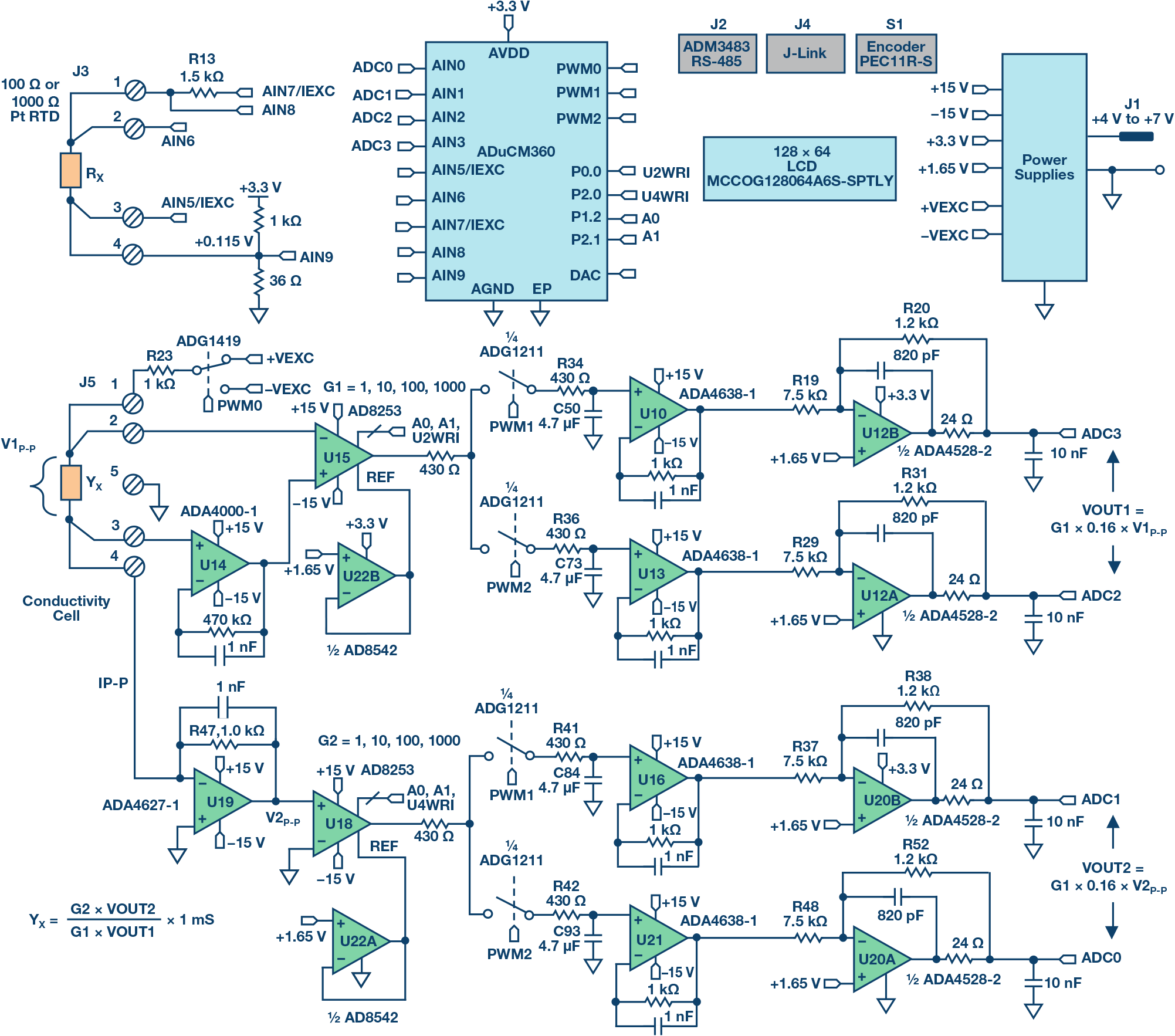 small resolution of high performance conductivity measurement system simplified schematic all connections and decoupling not shown