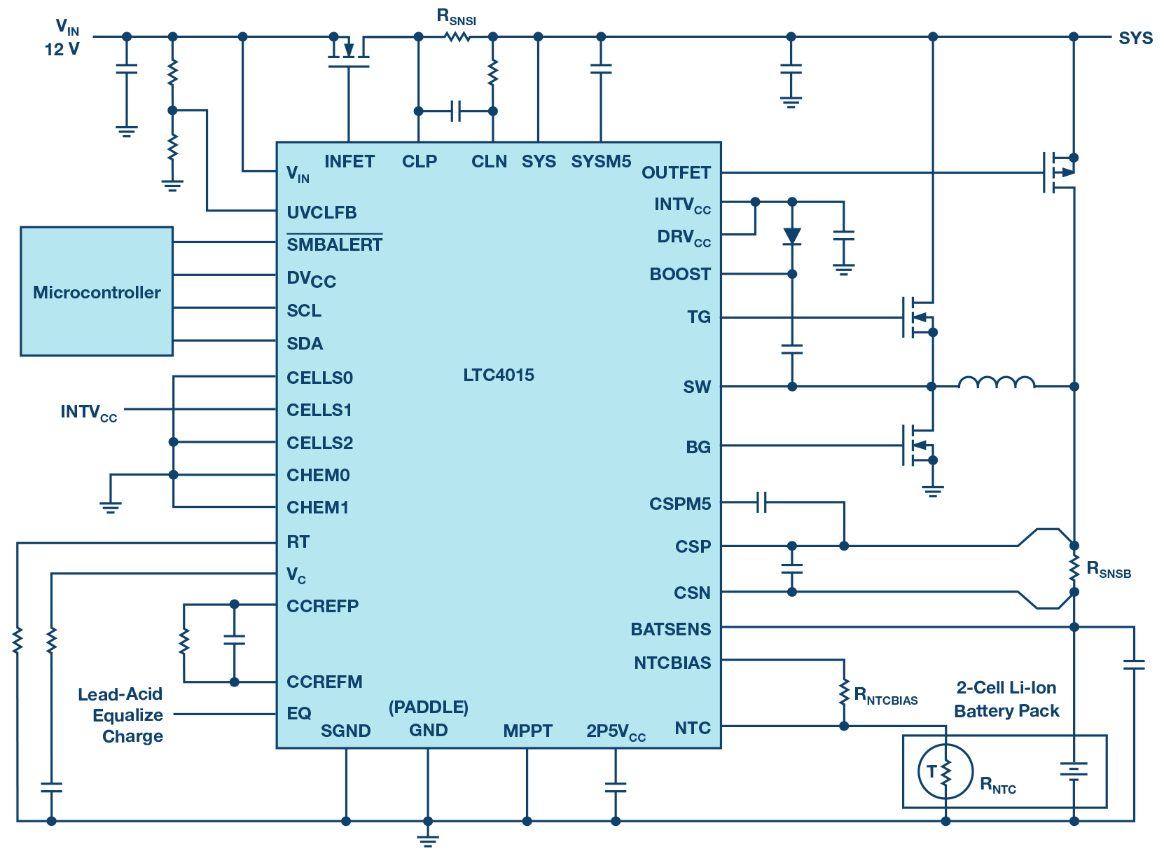 medium resolution of 12 vin to 2 cell li ion 8 a buck battery charger circuit
