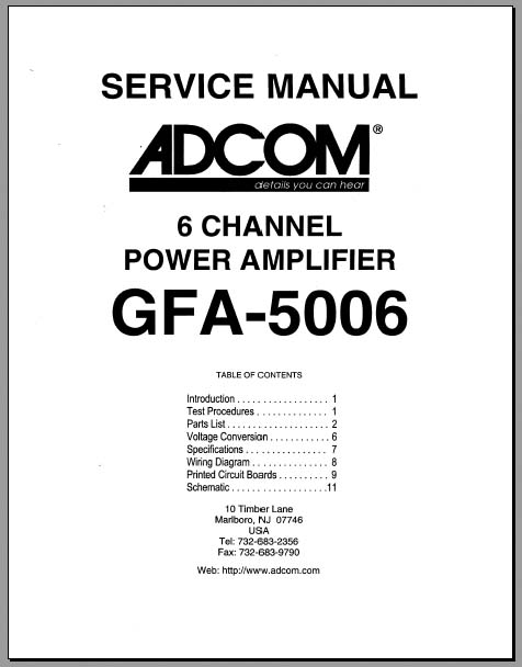 Adcom GFA-5006 Service Manual, Analog Alley Manuals