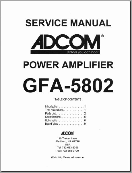 Adcom GFA-5802 Service Manual, Analog Alley Manuals