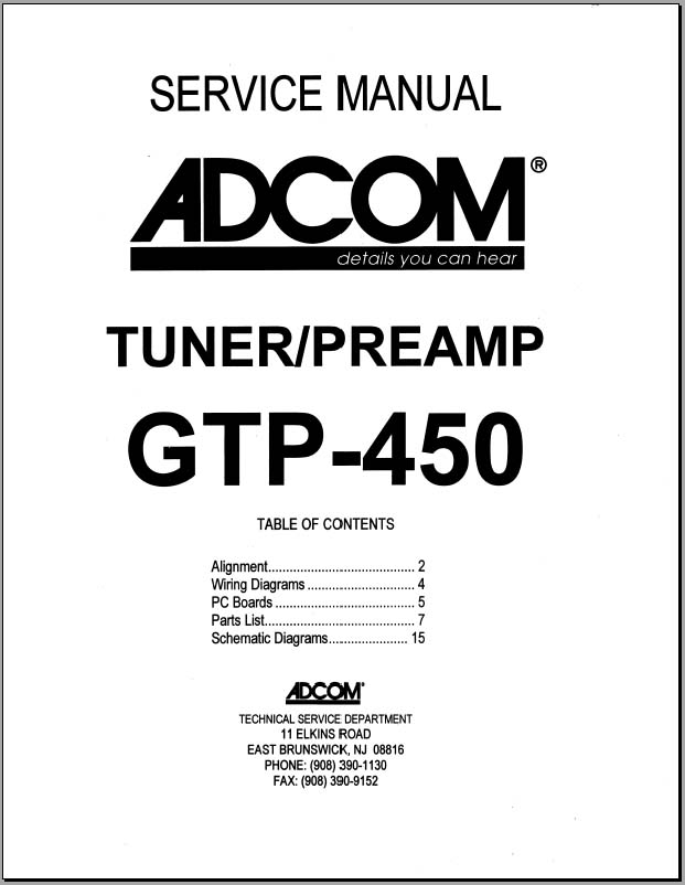 Adcom GTP-450 Service Manual, Analog Alley Manuals