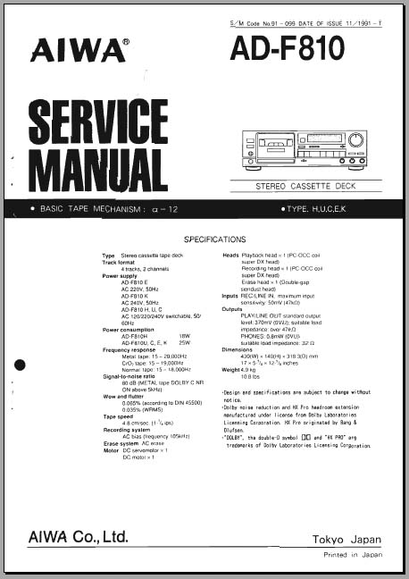 Aiwa AD-F810 Service Manual, Analog Alley Manuals