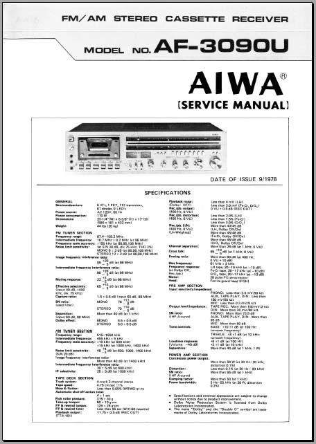 Aiwa AF-3090U Service Manual, Analog Alley Manuals