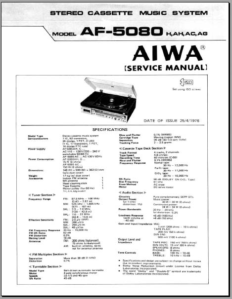 Aiwa AF-5080 Service Manual, Analog Alley Manuals