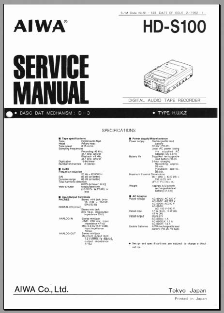 Aiwa HD-S100 Service Manual, Analog Alley Manuals