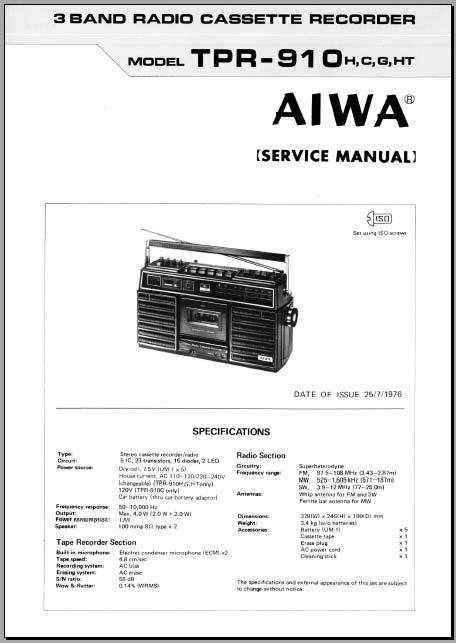 Aiwa TPR-910 Service Manual, Analog Alley Manuals