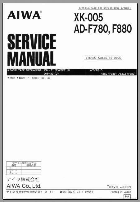 Aiwa XK-005, AD-F780, F880 Service Manual, Analog Alley