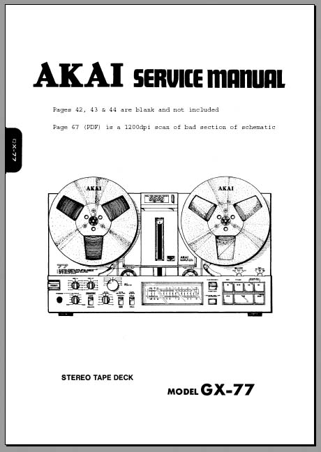 Akai GX-77 Service Manual, Analog Alley Manuals