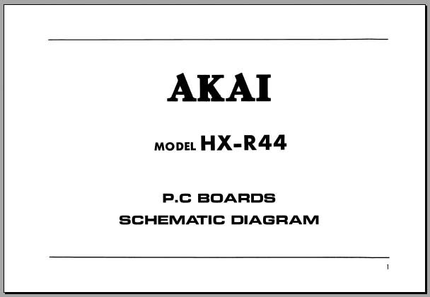 Akai HX-R44 P.B.Boards & Schematic, Analog Alley Manuals