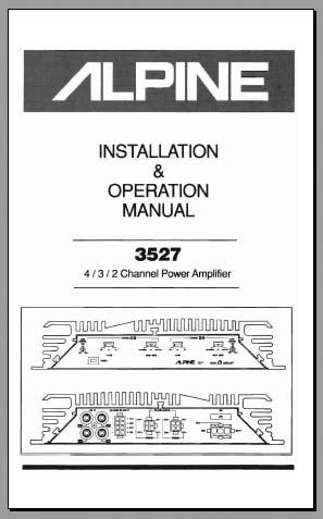 Alpine 3527 Installation & Operation Manual, Analog Alley Manuals