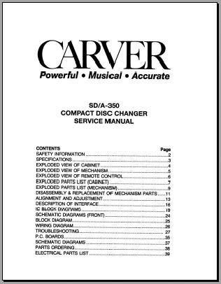 Carver SD/A-350 Service Manual, Analog Alley Manuals