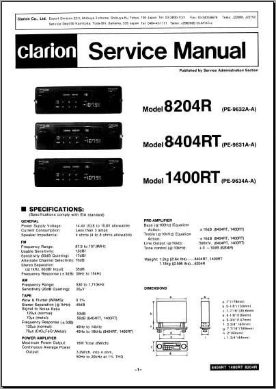 Clarion 8204R, 8404RT, 1400RT, Analog Alley Manuals