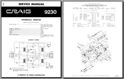 Craig 9230 Service Manual, Analog Alley Manuals