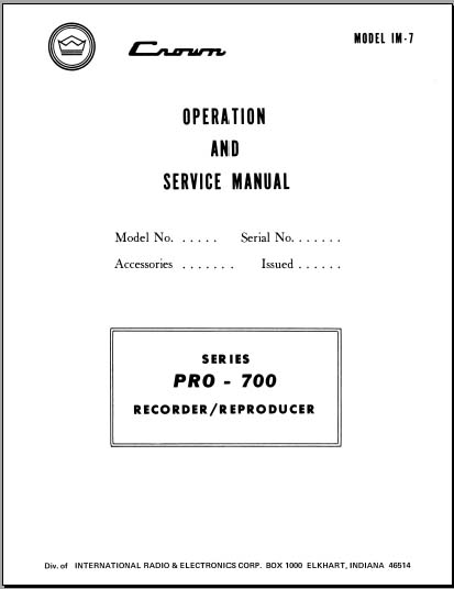 Crown Pro-700 IM-7 Operation/Service, Analog Alley Manuals