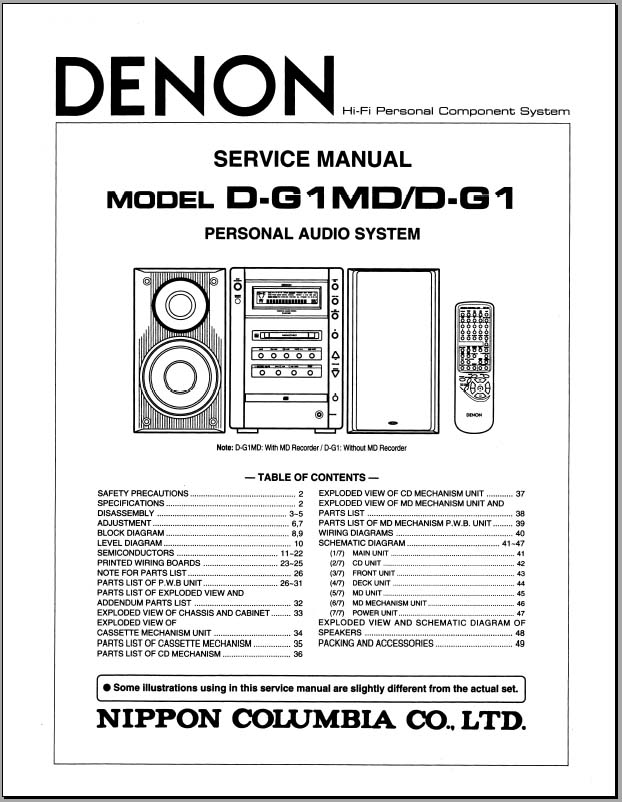 Denon D-G1, D-G1MD Service Manual, Analog Alley Manuals