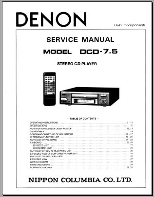 Denon DCD-7.5 Instructions/Service Manual, Analog Alley